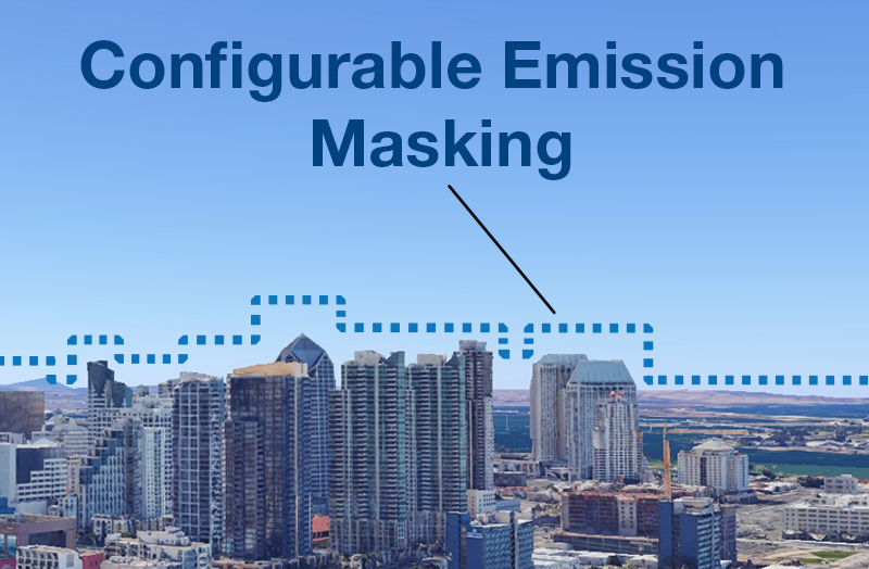 The SEAPA system using configurable emission masking to prevent unintended interference in a RF congested area